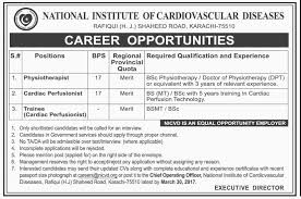 national institute of cardiovascular diseases karachi jobs  national institute of cardiovascular diseases jobs physiotherapist