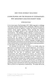 connectionism and the problem of systematicity why smolensky s connectionism and the philosophy of mind connectionism and the philosophy of mind