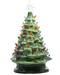 Ceramic Christmas Tree With Bird Lights Relive Christmas Is Forever Lighted Tabletop Ceramic Tree 16 Inch Green Tree With Multicolored Lights