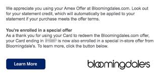 use amex offer to unlock another offer 30 off 150 at bloomingdale s doctor of credit