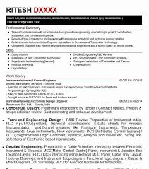 Instrumentation And Control Engineer Resume Sample Livecareer