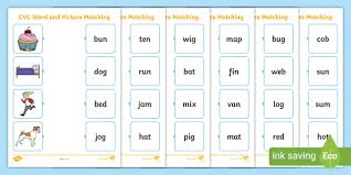 Cvc words consist of a consonant followed by a vowel and then another consonant sound. Cvc Word And Picture Matching Mixed Worksheets Cvc Words With Pictures