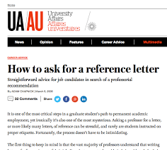 Asking For A Recommendation Letter From A Professor Sound Advice About How To Ask For A Reference Letter Grad