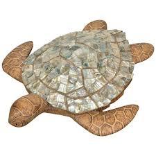 abalone and wood turtle sculpture for