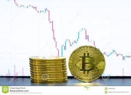 Gold Bitcoins And Financial Graph Chart Stock Photo Image