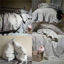 grey and white striped stonewashed linen duvet cover