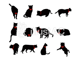 猫のシルエットリボン付きイラスト No 383797無料イラストなら