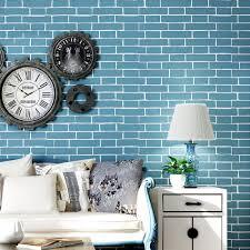Moderne Eenvoudige Blauwe Baksteen Patroon Vliesbehang 3d Steen