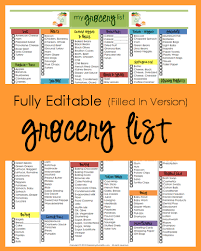 Grocery List Template Free Editable Grocery List Filled In Version Organizing Homelife