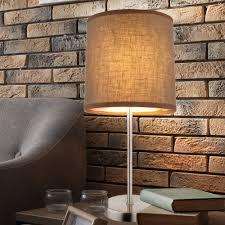 Tisch Lampe Schlafzimmer Beistell Lese Leuchte Braun Stoff Schirm