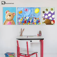Children Poster <b>Cartoon Animal</b> Bear Rabbit Art <b>Canvas</b> Painting ...