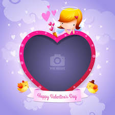 valentine s day happy valentine s day cupid angel with heart shaped photo frame free vector