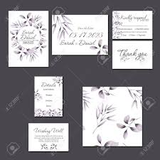 How To Make A Save The Date Card Template Cards Set With Watercolor Purple Branches Wedding Design