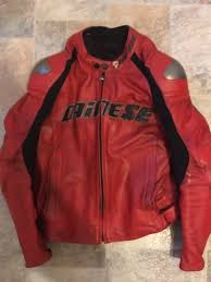 dainese santa monica red leather motorcycle jacket size 50