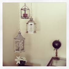 interior, Glorious Diy Hanging Lanterns Design Which Is Colored In Glossy  Grey And Brown Installed