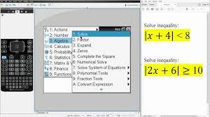 alg2 solving absolute value inequalities ti nspire cx cas