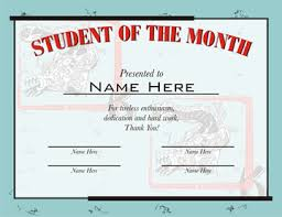 Student Of The Month Certificates Student Of The Month Certificates