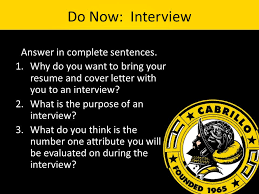Do Now Interview Answer In Complete Sentences 1 Why Do You Want
