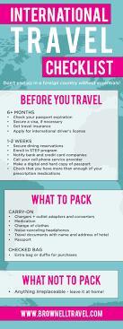 International Travel Checklist Brownell Roomofalice