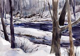 one for winter en plein air watercolor landscape painting of winter