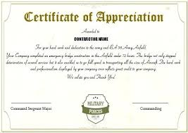 Military Certificate Of Appreciation Template Adorable Army Certificate Of Completion Template Pairproco