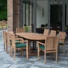 berkeley teak garden furniture dining set 8 seat oval teak table stacking chairs