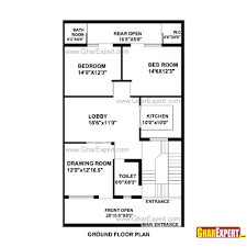 Small Picture House Plan for 30 Feet by 50 Feet plot Plot Size 167 Square Yards