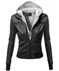 women s hoo zip up biker sherpa lining faux leather jackets