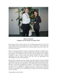 Employee Of The Month Write Ups Nov 2012 Write Up