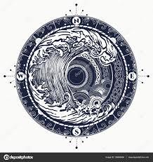 Moře Kompas A Bouře Tetování Keltském Stylu Velké Vlny A Růže