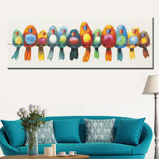 funny hand painted canvas oil painting colorful birds  on colorful birds canvas wall art with online shop funny canvas painting colorful birds canvas art cute