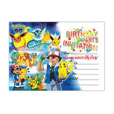kids birthday party invitations 20 x pokemon go kids birthday party invitation girls boys child free delivery ebay