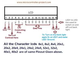 lcd pinout and working microcontroller projects 8x1 8x2 8x4 20x1 20x2 20x4 24x1 24x2