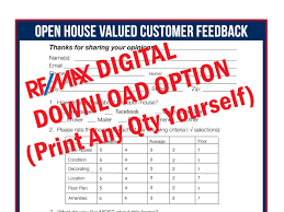 Sample Open House Sign In Sheet Template REMAX Real Estate Printable Open House Feedback Form 15