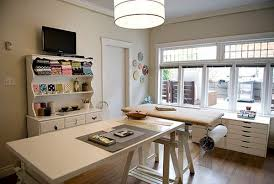 office craft room ideas. Transitional Craft Room Idea With Classic White Painted Storage System Large And Simple Crafting Table Office Ideas F