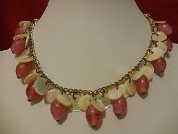 early miriam haskell rose givre art gl bead mop dangles br necklace