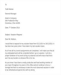 Formal Request Letter Template Sample Vacation Leave