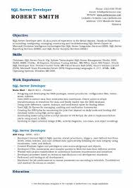 Sql Server Developer Resumes Sql Server Developer Resume Samples Qwikresume