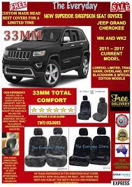 jeep grand cherokee 11 19 wk wk2 sheepskin car seat covers pair airbag safe 33mm