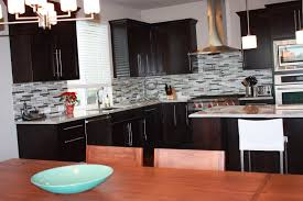 kitchen backsplash glass tile dark cabinets. Captivating Tile Kitchen Backsplash For Design Ideas : Comely L Shape Decorating Glass Dark Cabinets 2