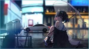 Night Rain Anime Girl HD Wallpaper ...