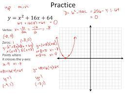 3 practice vertex zeros points where it crosses the y axis