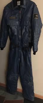 Vtg 80s Leather Polaris Snowmobile Jacket Pants Suit Large L