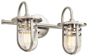 kichler 45132ni caparros contemporary brushed nickel 2 light bathroom light loading zoom