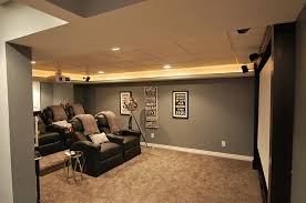 theatre room lighting ideas. perfect room fantastic modern small basement ideas for media room designs as well  black vinyl oversize reclining chairs also grey wall painted and lighting decors  on theatre e