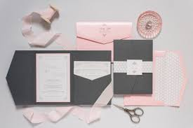 Wedding Invitation Folder Grey Pink Silver Pocket Wedding Invitation Folder With