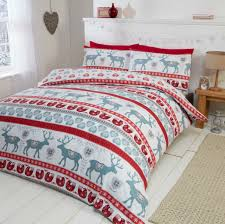 brushed cotton scandi red white winter duvet cover rows of reindeers festive