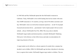 mcdonald s this essay aims to identify mcdonald s target market  document image preview