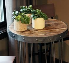 reclaimed wood tall round table modern