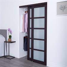 dark brown sliding frosted glass door